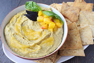 Peach Hummus Bowl with Black Garlic and Basil