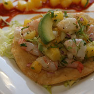Pineapple Shrimp Ceviche Tostada