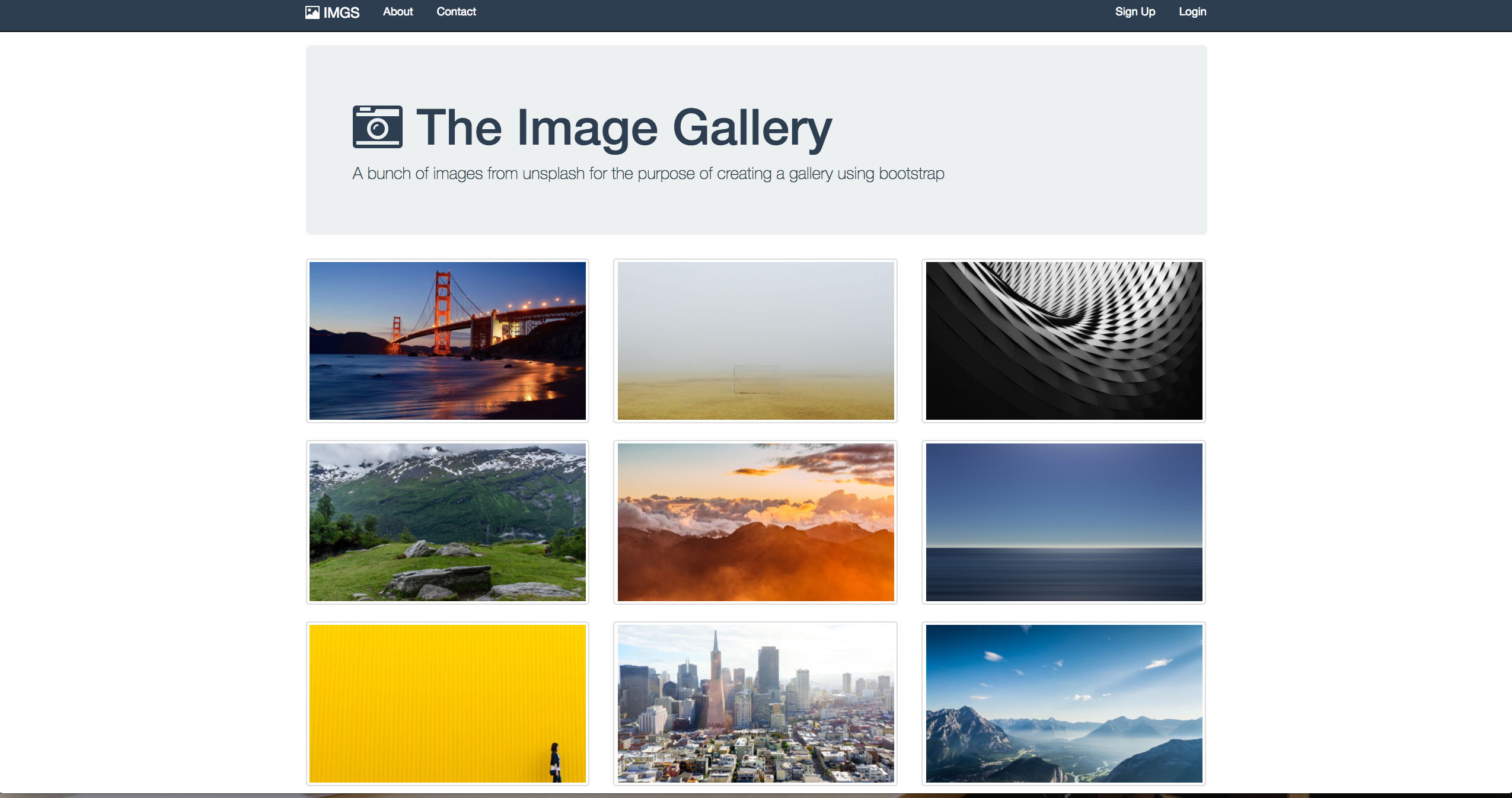 screen shot of an image gallery page