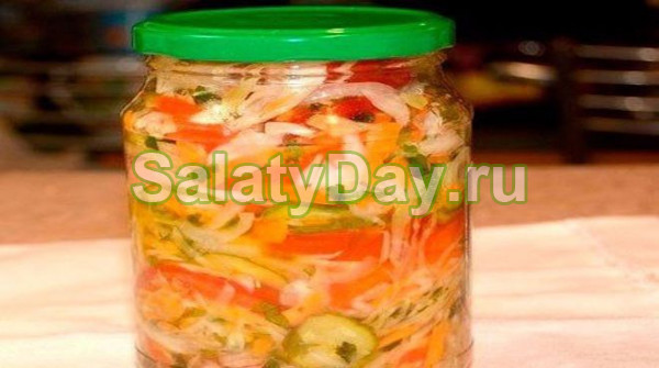 Салат на зиму из капусты огурцов помидоров перца