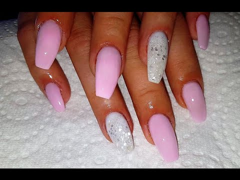 Pink and white artificial nails