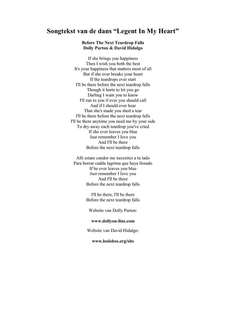 Before the next teardrop falls lyrics dolly parton