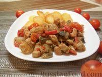 Фото к рецепту: Свинина, тушённая в сливках, с грибами и овощами