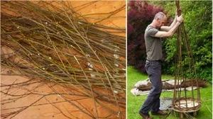 Корзина плетеная из прутьев