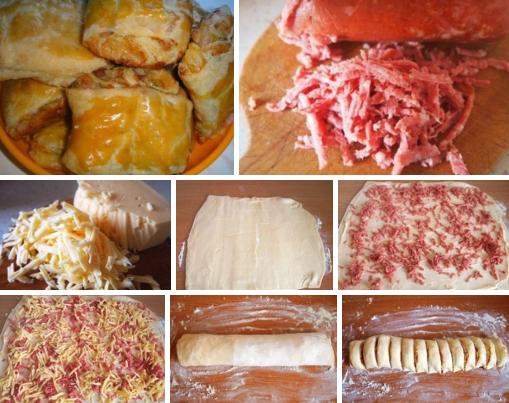 Рулетики из слоеного теста с колбасой и сыром рецепт с фото