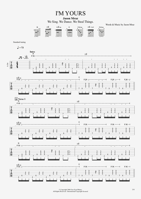 Jason mraz i m yours guitar tab