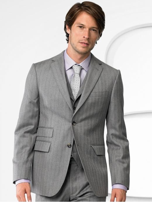 Grey suit with pink pinstripes