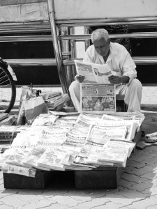 Picture of a a newspaper seller Mumbai