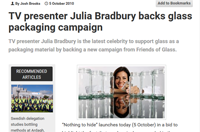 TV Presenter Julia Bradbury backs glass packaging campaign