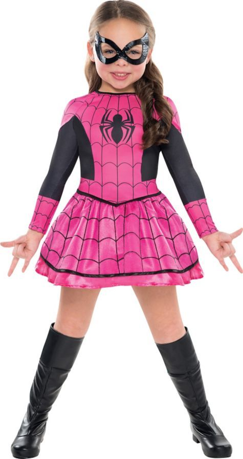 Girls pink spiderman costume