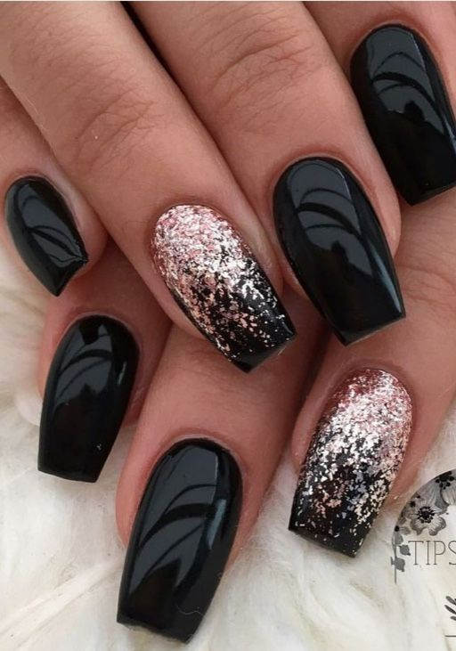 Black gel nails designs