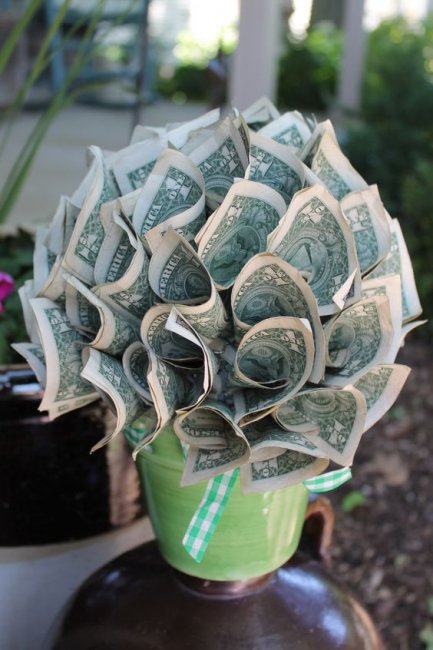 Букет из денег в корзинке