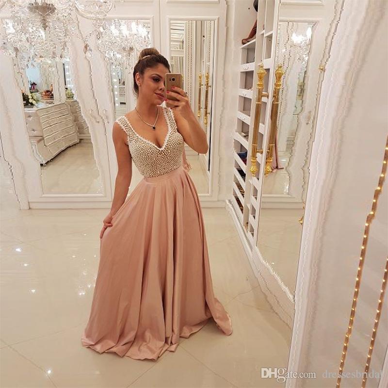 Light pink long formal dresses