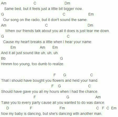 When i was your man bruno mars guitar chords
