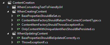 Content Tests Folders