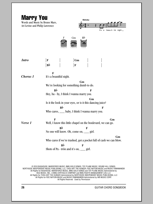 Marry you bruno mars chords