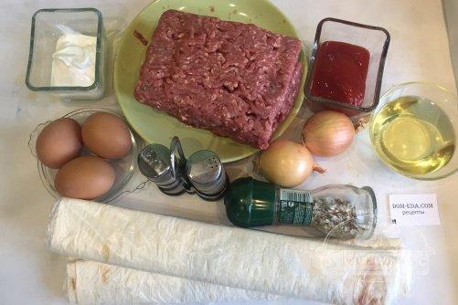 Пирог улитка из лаваша с фаршем в духовке