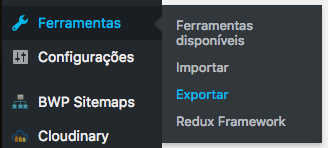Screenshot da tela do Wordpress