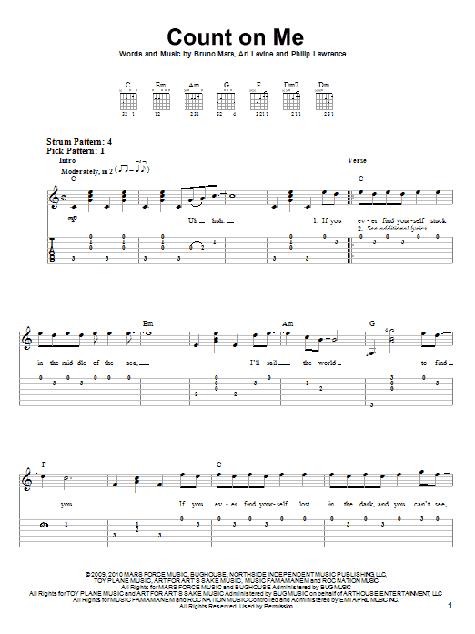 Count on me bruno mars chords piano