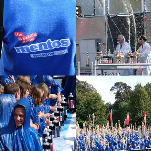 SEPTEMBER 2007: WERELDRECORD 850 SPUITENDE MENTOS FONTEINEN IN BREDA