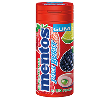 Mentos Juice Burst Gum Red Fruit/Lime Pocket Bottle