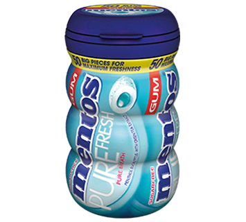 Mentos Pure Fresh Gum Menthol-Eucalyptus Big Bottle 50pcs