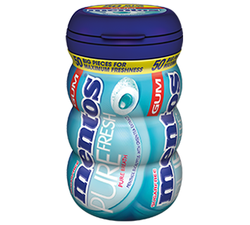 Mentos Pure Fresh Gum Menthol-Eucalyptus Big Bottle 50pcs