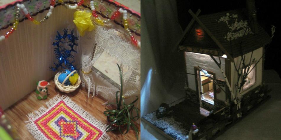 Инересный кукольный дом из картона с подсветкой.