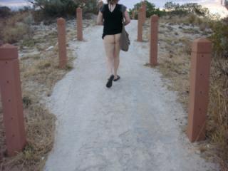 flashing my bare bottom near the beach