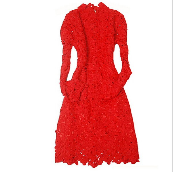 2015 Spring New Fashion Celebrities Womens Dresses Top Quality Hollow out Stunning Lace Dress Elegant long sleeve Runway Dress