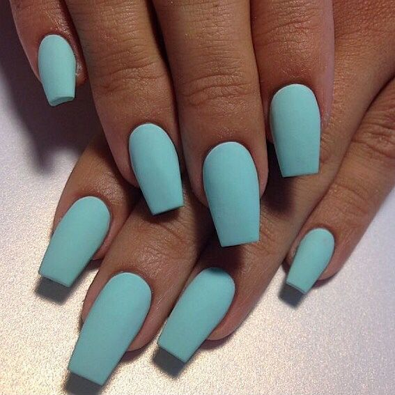 Turquoise matte nails