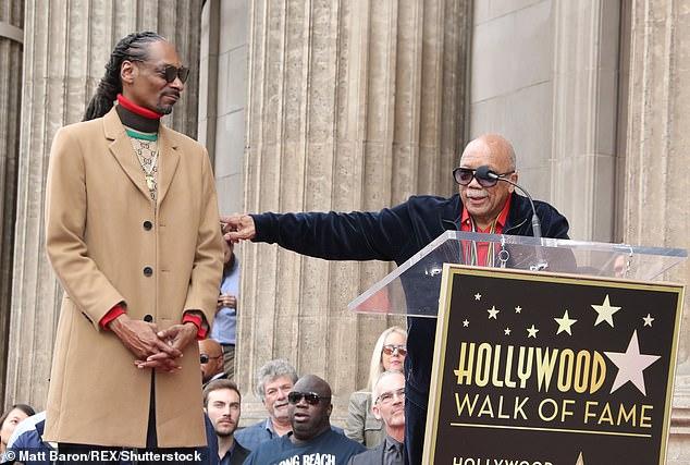 Gangsta luv: Quincy Jones looked stately in avelour sweatsuit