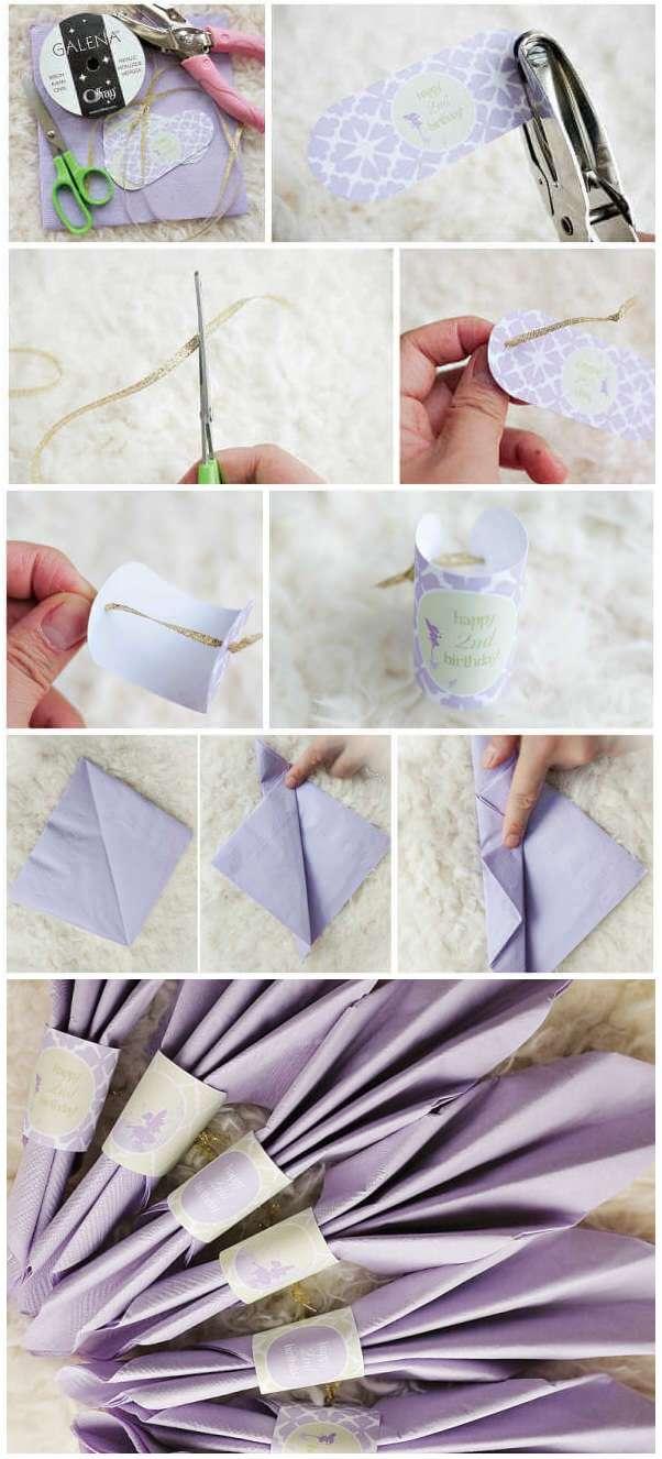 Украшение праздничного стола бумажными салфетками