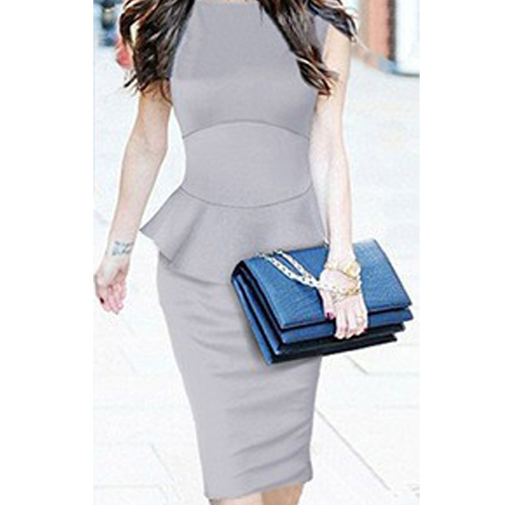 2015 new summer women midi dress work wear peplum dress new fashion celebrities high street bodycon dresses elegant pencil dress