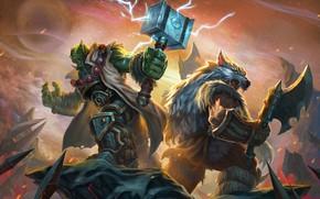 Обои Рисунок, Игра, Blizzard, Art, Orc, Фантастика, WarCraft, Тралл, Thrall, WarCraft 3, Рексар, Rexxar, Warcraft III, ...