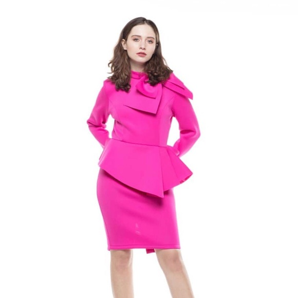 Plus size hot pink peplum dress