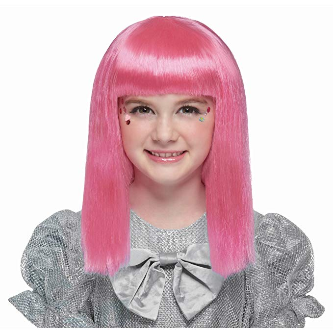 Girls pink wig