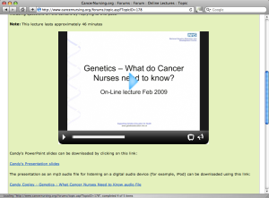 Figure 2. A recording of a live lecture, published on CancerNursing.org