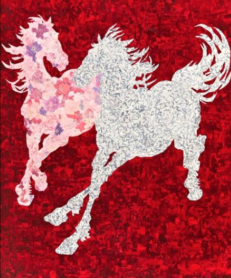 Portrait of Two Horses, 60 x 71 cm