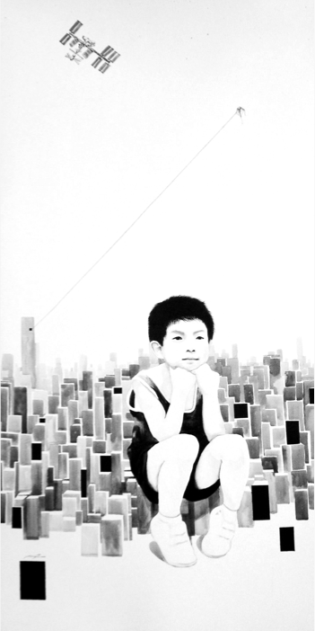 Vaan Ip - The Little Thinker, 100 x 100 cm, Ink on Canvas, 2013