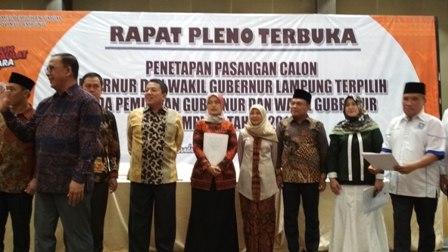 Arinal – Chusnunia Resmi ditetapkan Gubernur dan Wakil Gubernur Lampung 2019 – 2024