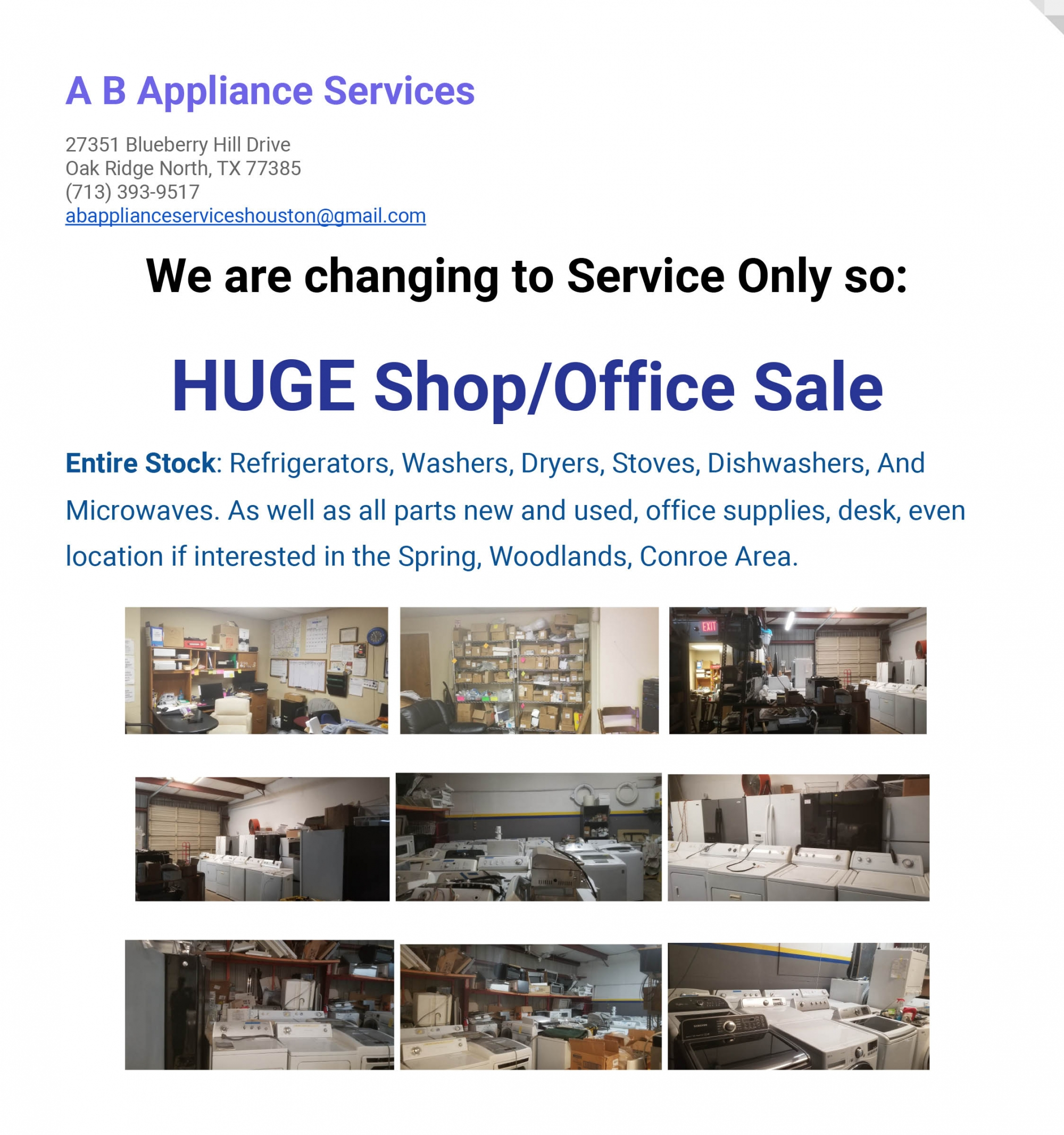 Appliances For Sale FLyer