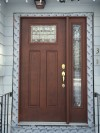Therma Tru Classic Craft Door and sidelight. Stained at factory. Art Glass