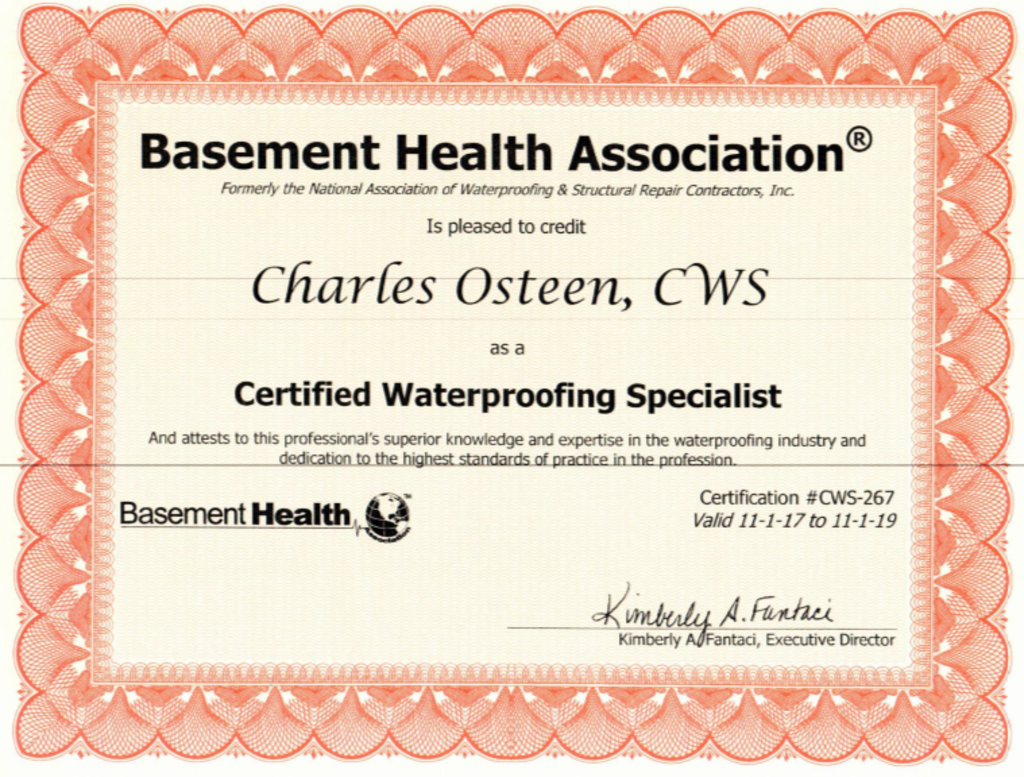 EverDry Waterproofing - Certificate 2