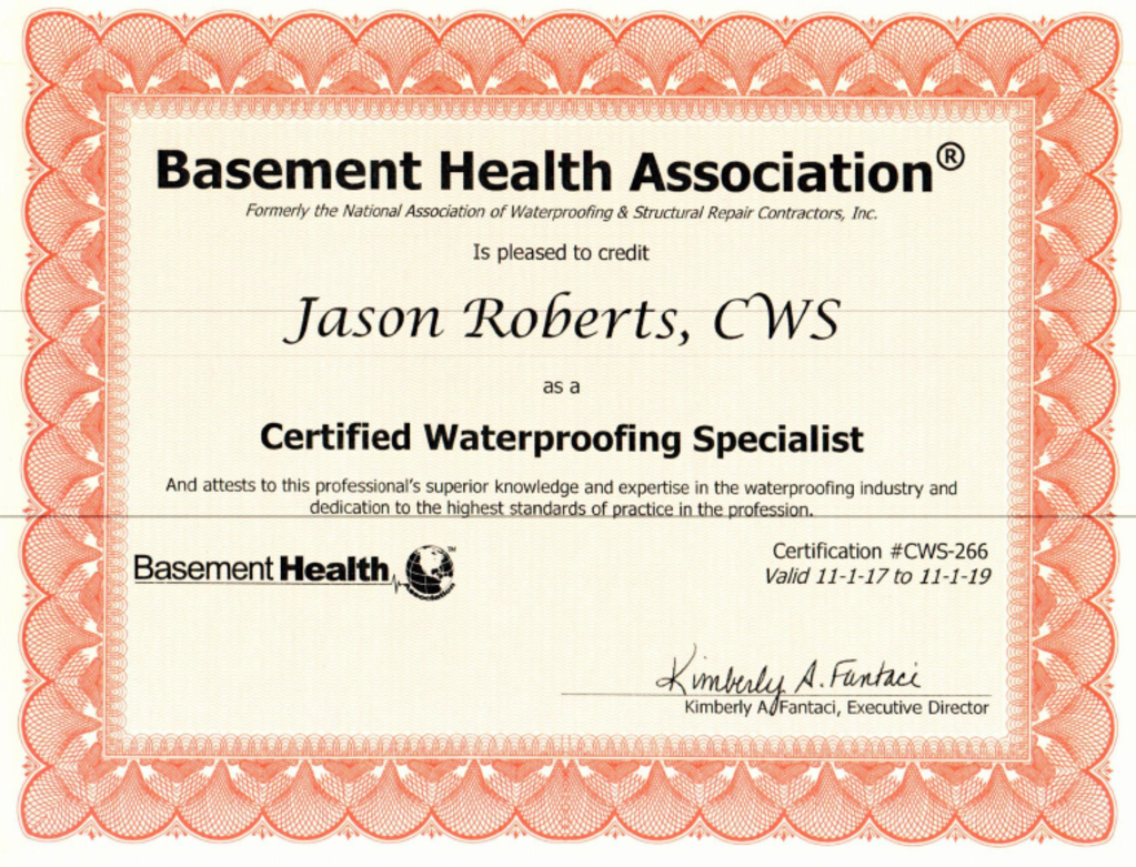 EverDry Waterproofing - Certificate 1