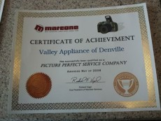 Morris County Appliance Repair - Certificate of Achievement
