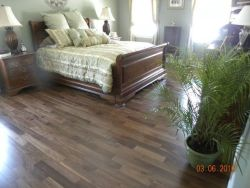 Hansen's Wood Flooring - Hardwood Installation Job in Albany NY - Walnut Flooring in clients bedroom