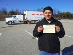 AAA CDL SCHOOL -Student with Class a CDL Permit