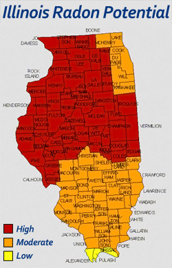 Radon Measurement of Illinois LLC - Graphic of The Potential of Radon in Illinois