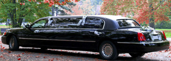 A & J Transportation - Limo driving the bride and groom
